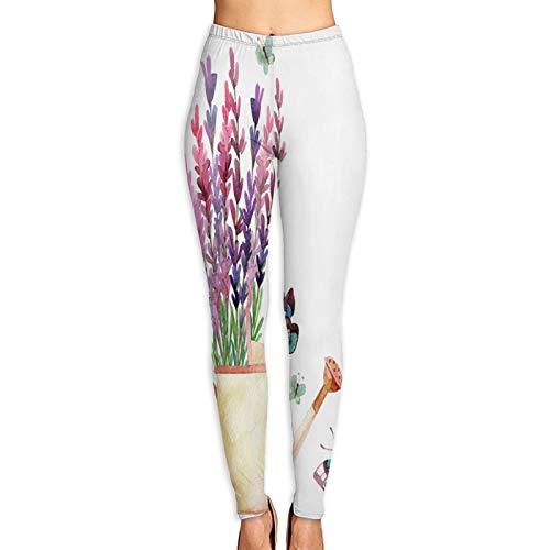Pantalones de Yoga para Mujer,Acuarela Lavanda Regadera con Mariposas Mano,Pantalones de Entrenamiento de Cintura Alta Medias elásticas de Yoga Impresas XL