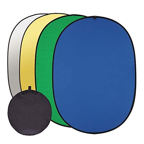 GSKAIWEN 4 in 1 Photography Backdrop Light Reflector Chromakey Green Blue Screen 5x6.5 ft 100% Cotton Muslin Collapsible Reversible Background Outdoor Portable Photo(Green Blue Sliver Gold)