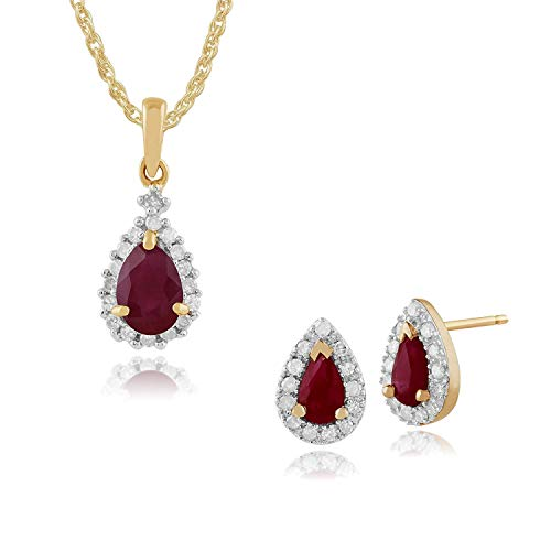 Gemondo 9ct Oro Giallo Rubino E Diamante Pera Orecchini A Lobo A Grappolo & 45cm Collana Set