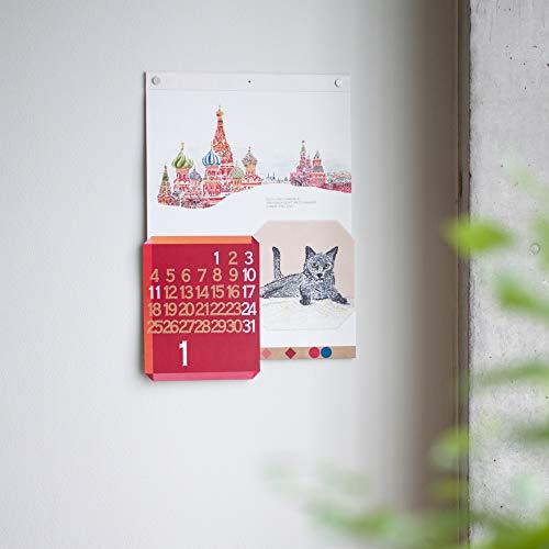 世界を旅するように毎月、違った国の光景を楽しめるカレンダーです。  12か月分、すべてデザイナーの描き下ろしになっており、2020年版とは全く違う国の構成なので、昨年購入した人も新たな国を旅することができます。