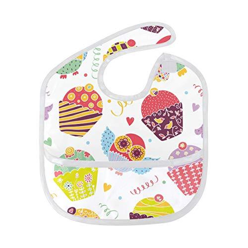 DEZIRO Uilen en Cupcakes Patroon Baby Drooler Bib Baby Bib Waterdicht Wasbaar Vlekbestendig, Pak voor 6-24 Maanden