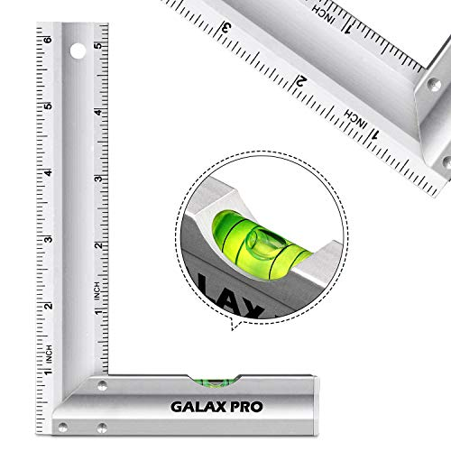 Level & Measuring Layout Tool, GALAX PRO 6-inch L-Shaped Aluminum Try Square with Spirit Level, Green Level Bubble, Aluminum Alloy Handle, Hanging Hole, Ideal for Measuring Right Angle…