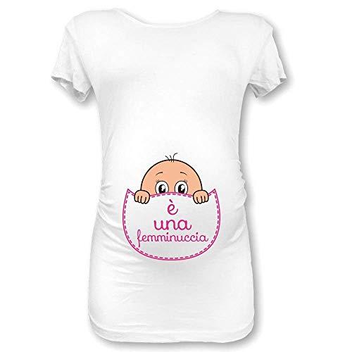 T Shirt Maglia Premaman Manica Lunga Tasca Bianca E' Una Femminuccia S