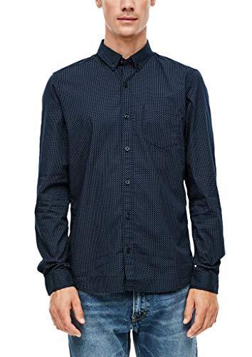 s.Oliver Herren Slim: Hemd mit Allovermuster Dark Blue AOP L