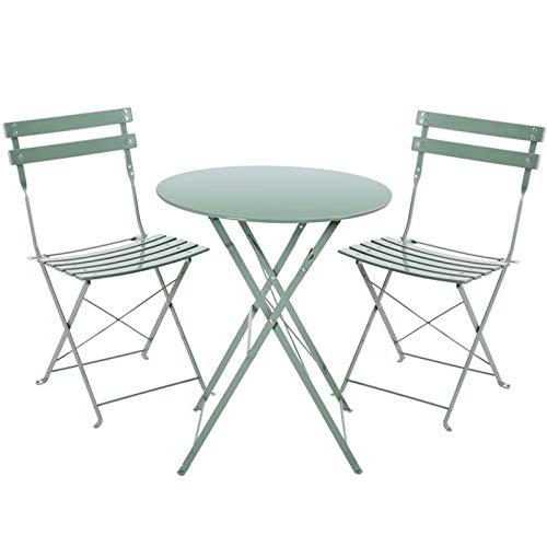 Schmiedeeisen Gartenmöbel, Gartentisch und Stühle Terrasse Möbel, Falttischstühle, 1 Tisch und 2 Stühle für Garten Outdoor Camping Balkon Café Set von 3
