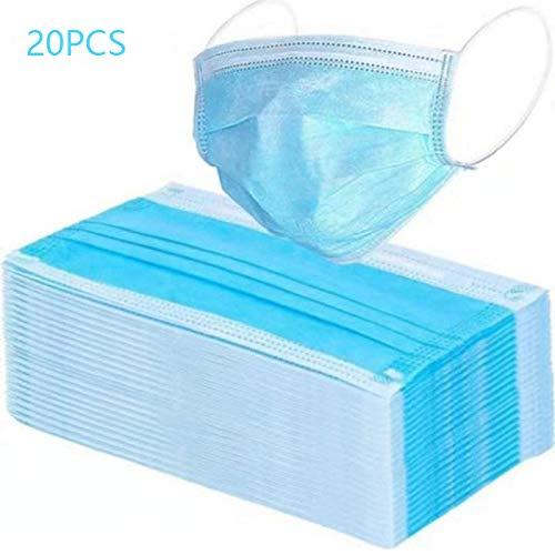 LICAIWANG Einwegmaske blau vorbeugende Mundmaske Vliesstoff 3-lagiger Filter neutraler Staub Mund- und Nasenschutzmaske 20 Stück