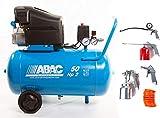 Compresor de aire Abac Monttecarlo B20 Bassilin - 8 bar HP2 litros 50 Art. 1129981009- más kit de 5 piezas art. 8973005546 New último modelo 2020