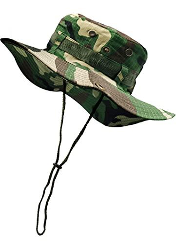 Sombrero de Pescador Camuflaje Plegable, Gorro de Sol para Aire Libre Caza Viaje Pesca, Sombrero de Militar de Algodón para Climb Camping (SFM-1-3)