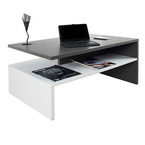 RICOO WM080-W-A Tavolino da salotto 90x42x60cm Tavolo soggiorno basso Design moderno rettangolare Mobile divano Legno bianco e grigio