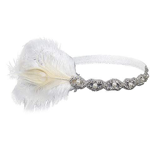 KEERADS-Accessoires hair band Pour Carnival, Années 1920 casque bandeau plume bandeau grande coiffe gatsby vintage(Blanc)