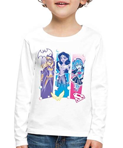 DC Super Hero Girls Batgirl Wonder Woman Supergirl Logos Kinder Premium Langarmshirt, 110-116, Weiß