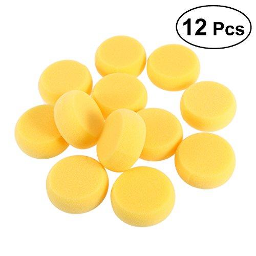 Healifty 12 stücke Synthetische schwämme runde für malerei Gesicht malerei Handwerk Keramik ton Wasserfarben haushaltsgebrauch (Gelb)