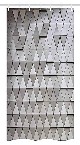 FANCYDAY Grijs Decor Stall Douche Gordijn door, Up en Down Gelijkmatige Driehoek Digitaal Paneel Scharnierend Architecturale Boho Art Shapes, Zilver