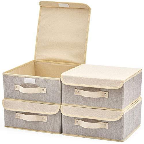 EZOWare 4 pcs Cajas de Almacenaje, Cubo Decorativa de Tela Plegable Resistente con Tapa para Habitación de Bebé, Closet, Dormitorio, Estanterías y Mas - (26.7 x 26.7 x 12.8 cm) (Gris y Beige)
