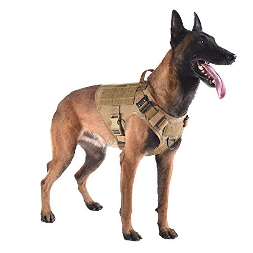 ICEFANG Tactical Dog Harness with 2X Metal Buckle,Dog Walking Training MOLLE Vest with Handle,No Pulling Front Leash Clip,Hook and Loop for Dog Patch (L (28'-35' Girth), Coyote Brown)