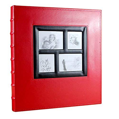 Yuan Ou Álbum de Fotos Patrón De Piel De Cocodrilo Extra Grande Cuero Vintage Álbum De Fotos Que Los Niños Crecimiento 33.5x36.5x5cm Red1