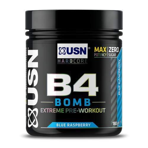 USN B4 Bomb Preworkout Energy Drink with Creatine, Caffeine, Zynamite and L-Citrulline, Blue Raspberry 180 g