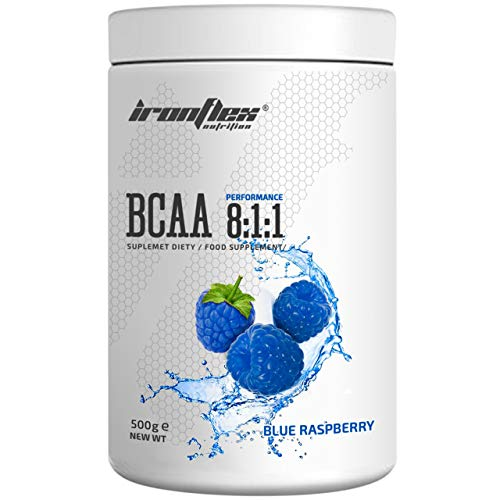 IronFlex BCAA 8:1:1-1 Pack - Branched Chain Amino Acids in Powder - Muscle Regeneration - Anticatabolic (Blue Raspberry, 500g)