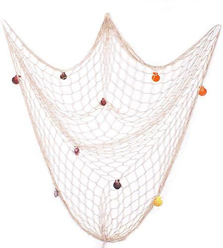 VGOODALL Fischernetz Dekoration, 1.5m x 2m Beiger Maritime Deko mit Muscheln für Aufhängen Hintergrund Wohnzimmer Wand Deko