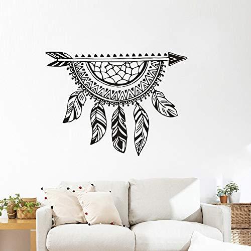 Flecha con atrapasueños calcomanías de pared estilo de plumas atrapasueños creativas pegatinas de pared extraíbles arte de la pared del dormitorio A8 78x57cm