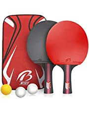 Table Tennis Bats, Ping Pong Racket Set - 2 Paddles and 3 Balls, Professional Paddle for Beginner