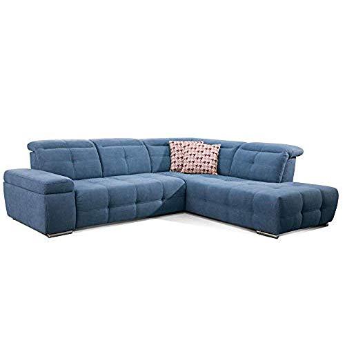 CAVADORE Ecksofa Mistrel mit Ottomanen rechts / Große Eck-Couch im modernen Design / Inkl. verstellbare Kopfteile / 269 x 77 x 228 / Blau