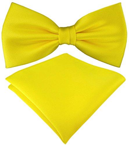 TigerTie TigerTie Satin Fliege Einstecktuch in gelb Uni einfarbig + Aufbewahrungsbox