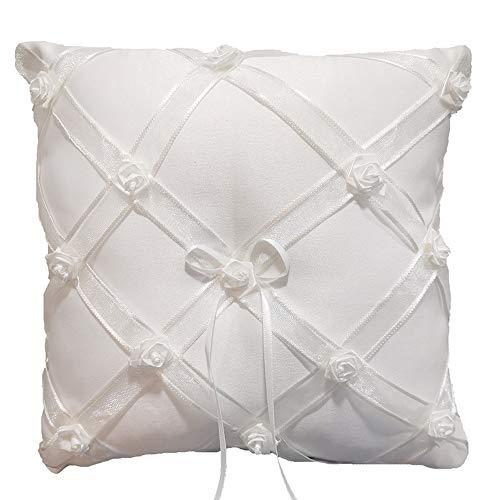 Cojín para alianzas en color crema y blanco para boda, cojín decorado con rosas para las alianzas, cuadrado, 19 x 19 cm