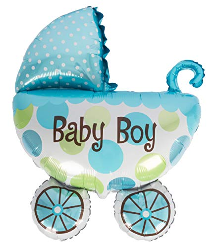 Edco Folienballon Kinderwagen XL Junge Größe ca. 85 x 65 cm Babyluftballon Boy