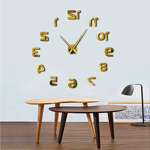 Pmhc Backwards DIY grote wandklok modern design omgekeerde wandklok luxe spiegel effect bijgeedle omkeerbare klok