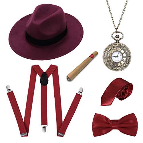 LADES DIRERCT 1920s Herren Accessoires - Kostüm Zubehör Set Mit Panama Gangster Hut Verstellbar Y-Back-Hosenträger Fliege Halsschleife Taschenuhr Und Plastik-Zigarre (Set-7)