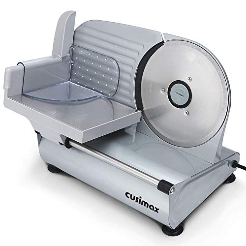 "CUSIMAX Meat Slicer Electric Food Slicer with 7.5"" Removable Stainless Steel Blade and Pusher, Deli Cheese Fruit Vegetable Bread Cutter, Adjustable Knob for Thickness, Food Carriage & Non-Slip Feet"