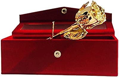 Golden Natural Rose 15 cm with Beautiful Velvet Box Packing (15 cm, Golden)