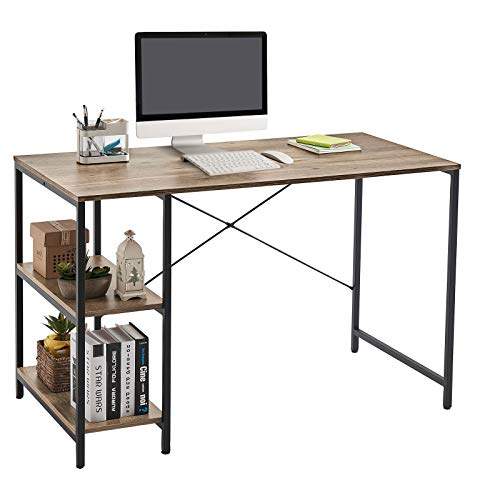 LINSY HOME 47 Inch Computer Desk, Writing Laptop Table for Work Study Gaming with Storage Shelf, LS209V1-A
