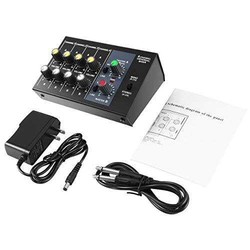 8-Kanal-Digital-Mischpult Karaoke-Universalmischer-Konsole Mono/Stereo-Mikrofon Mischpult Konsole einstellen Panel (Schwarz)