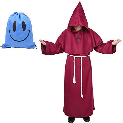 Priester Robe Kostüm Mönch Gewand Mittelalterliche Renaissance Kapuze Kostüm (rot, XL)