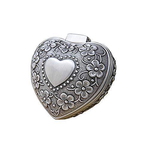 Joyero de Metal Metal Box Creativa Europea Retro Mini pequeño corazón en Forma de Joyas de Boda Ring Box (Color : Silver, Size : 6X6X3.4CM)