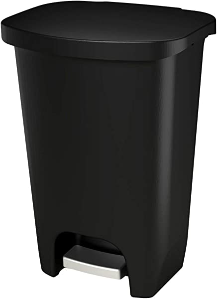 GLAD GLD 74030 Plastic Step Trash Can With Clorox Odor Protection Of The Lid 13 Gallon 52 Liter Black