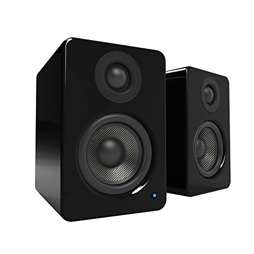 """Kanto 2 Channel Powered PC Gaming Desktop Speakers - 3"""" Composite Drivers 3/4"""" Silk Dome Tweeter - Class D Amplifier - 100 Watts - Built-in USB DAC - Subwoofer Output - YU2GB (Gloss Black)"""