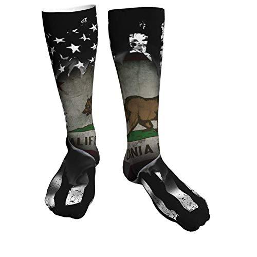 Calcetines de invierno de la bandera de California Historic Bear Flag Pull Apart de moda, suaves, cálidos, cómodos, informales.