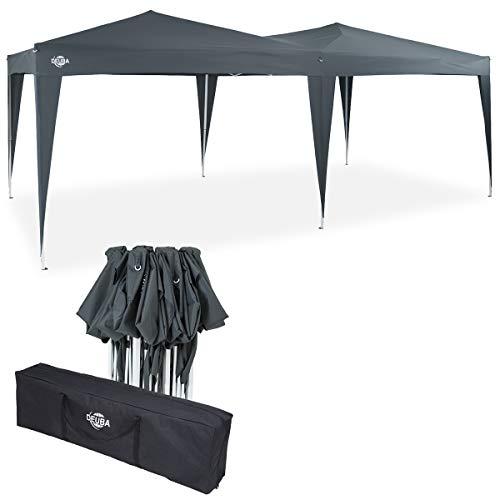 Deuba Pavillon Capri 3x6m Pop-Up Anthrazit Wasserabweisend Inkl. Tasche UV-Schutz Faltpavillon Gartenzelt Partyzelt Zelt