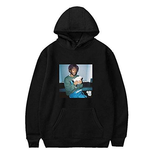 CTOOO Herren Kapuzenpulli Hoodies Sweatshirt Rapper Lil Uzi Vert Trend Plus Samt Kapuzenpullover Für Männer Und Frauen Schwarz