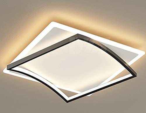 LED Lámpara de Techo 74W Interior Plafón Moderna LED de Techo Rectangular De Dormitorio Cocina Sala Salón Comedor,Negro