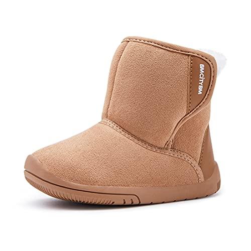 Baby Boys Girls Snow Boots Warm Winter Non Skid Infant Prewalker Shoes 6 9 12 16 18 24 Months Camel Size 12-18 Months Toddler