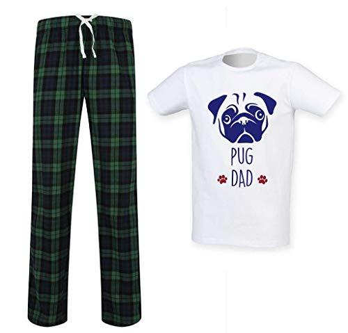 Conjunto de pijama de tartán para hombre de Pug Dad para el Día del Padre Ropa de Regalo para Mascotas, verde, L