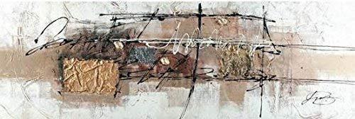 ETA-BL Tableau panoramique Abstrait Marron et Or, Dimensions 60/120 cm, Peinture à l'huile sur Toile de Coton montée sur Un châssis en Bois.