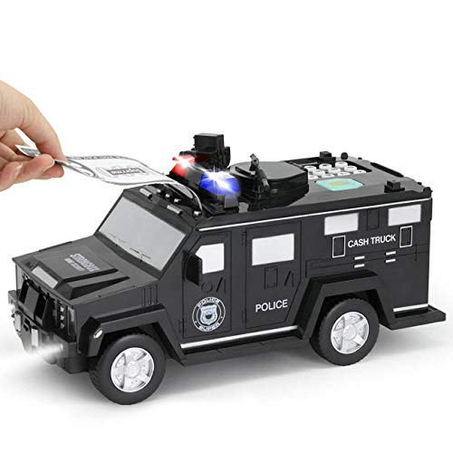 GuDoQi Armored Car Bank Password Piggy Bank with Music and Light Electronic Money Bank Toy Car Birthday Gifts for Kids Black