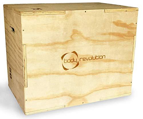 Body Revolution Madera Plyo Caja - 3 en 1 Heights - 50cm, 60cm And 75cm - Plyometric Jump Caja para Crossfit