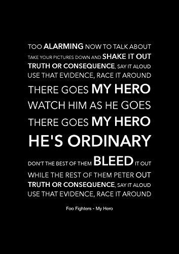 Foo Fighters – My Hero – Schwarzes Songtext, Kunstposter – A4 Größe