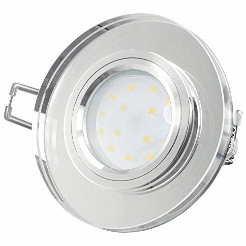 LED Einbaustrahler super flach Einbautiefe nur 15mm aus klarem Glas rund mit fourSTEP LED Modul dimmbar ohne dimmer 5W warmweiß